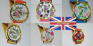 Women's Gold Plated Round Flower design dial Geneva strap Watches ,Various Dials