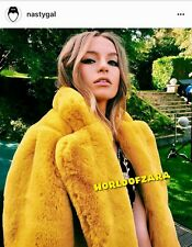 HOT💥RARE! NWT NASTY GAL FAUX FUR COAT JACKET MUSTARD YELLOW S BLOGGERS VINTAGE