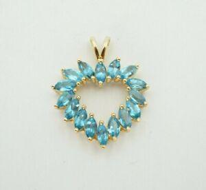 ADL 10k Yellow Gold Aquamarine Heart Pendant