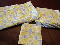 Laura Ashley Charlotte Sweet Peas 3pc Twin Size Sheet Set EUC
