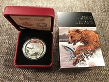 Canada $20 Proof Solid SILVER 1 ounce Coin – 'Grizzly Bear catching a Fish' 2015