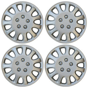 """4 Piece Set 14"""" Inch Hub Cap Silver Skin Rim Cover for Steel Wheel Covers Caps"""