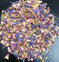 Biodegradable confetti petals Blue Pink Rose Yellow Delphinium Eco Wedding 1L