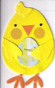 PAPYRUS EASTER CARD NIP (MRP $6.95) FELT CHICK W/EGG CARD (O3)
