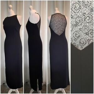 PRINCIPLES BLACK LONG EVENING DRESS SHEER BACK SPARKLY CRUISE PARTY SIZE 10