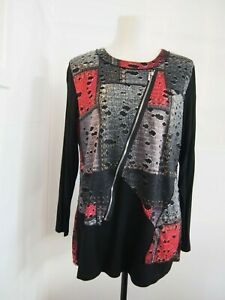 Meric Black and Red Patterned Top Size 14