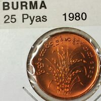 1980 Myanmar Burma 25 Pyas Brilliant Uncirculated Bronze Wheat Coin