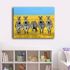 70×90×3cm Zebras Canvas Prints Framed Wall Art Home Decor Office Painting Gift