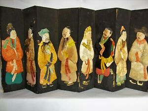 Antique 8-Panel Asian Dresser Accordion Folding Backdrop w Embroidered Figures