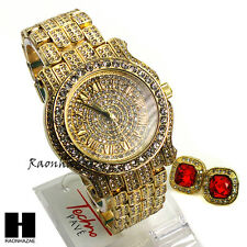 Hip Hop Iced Out Simulated Diamond Techno Pave Watch & Red Ruby Earring Set G148