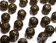 50pc 6mm Antique Bronze Plated Metal Filigree Hollow Spacer Beads (M011)