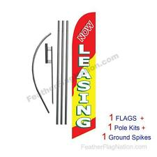 Now Leasing (red & yellow) 15ft Feather Banner Swooper Flag Kit with pole+spike