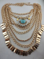 Statement Gold Plated Turquoise/White Bead Rhinestone Multiple Chain Necklace