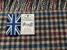 100% Wool Throw Made in Yorkshire. Royal Blue, Red and Beige Check