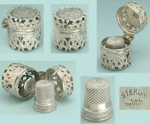 Ornate Antique Sterling Silver Chatelaine Case w/ Thimble by Webster Co. * 1890s