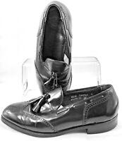 Florsheim Loafer Men's Sz 8.5 3E Black Leather Tassel Wingtip Slip On Dress Shoe