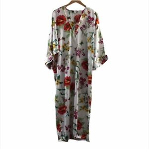 Natori Caftan Floral Half Zip Long Nightgown Sleep Size Small Petite White