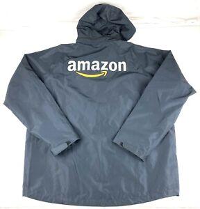 Amazon Mens Employee Work Hooded Mesh Lined windbreaker Jacket Size 2XL Black