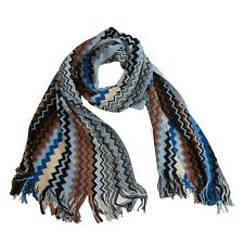 Missoni Blue Cream Zig Zag Chevron Orange Label Oblong Fringe Wool Scarf NWT