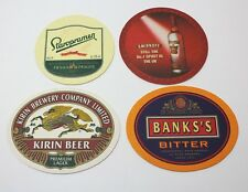 Coasters Lot Of 4 Assorted Beer Oval/Round Brewmania Banks's, Kirin Beer Collect