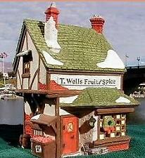 Dept 56 Dickens Village Series T Wells Fruit & Spice Shop Store ~ Mint in Box!