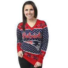 Forever Collectibles NFL New England Patriots Women's Big Logo V-Neck Sweater