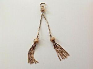 Vintage 9ct Yellow Gold Double Tassel Pendant - UnoAErre Italy - 8cm Drop - 4gms