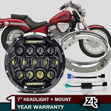 "DOT 7"" 75W LED DRL Headlamp + Mount Fit Honda Shadow VT VT1100 VT750 VT600 VF750"