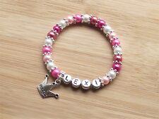 PINK PRINCESS PERSONALISED Glass Pearl Stretchy Bracelet & Princess Crown Charm
