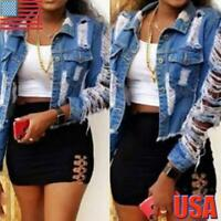 Women's Ripped Hole Denim Jacket Ladies Casual Short Coat Jeans Buttons Outwear