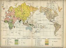 1898= DISLOCAZIONI RAZZE NEL MONDO = Antica Mappa