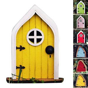 Fee Gnome Elf Tür Handbemalt Holz Outdoor Yard Baum Mystische Ornament Kunst