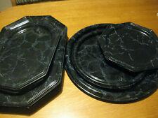 18 Servierplatten,Kunststoff,schwarz marmoriert,verschiedene Größen