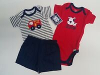 Baby Boys 3 Piece Bodysuit, Tee Shirt & Short Set -Gerber- Fire Engine 3-6 M