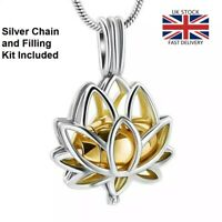 Gold Lotus Flower Jewellery Cremation Urn Pendant Ashes Necklace - UK