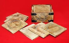 6 Hand Carved Wooden Burnt Wood Style Coasters and Holder