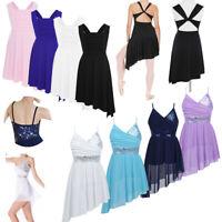 Kids Girls Lyrical Ballet Dance Dress Modern Latin Leotard Tutu Skirt Costume