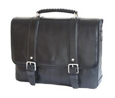Tony Perotti Italian Leather Satchel Briefcase With Tablet Section Black TP9613