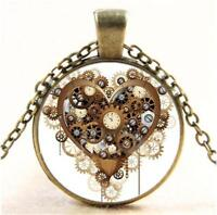 Steampunk Heart Vintage Bronze fashion Cabochon Glass Pendant Chain Necklace