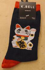"""Cat Lover Socks """"Maneki Neko"""" Japanese Lucky Cat on Black Background"""