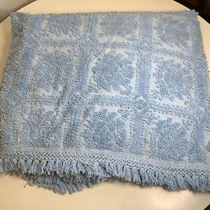 Vintage Chenille Bedspread Blanket Twin Full Color Blue Floral Print Fringe
