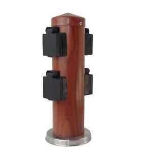 4 fach Gartensteckdose Holz Säulensteckdose Holzoptik Rund IP44
