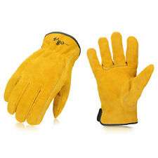Vgo 1/3/9 Pairs Unlined Cowhide Split Leather Work Gloves,Heavy Duty (CB9501-G)