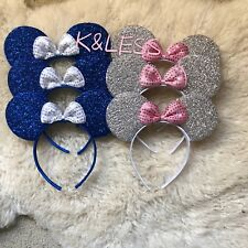 24Minnie-Mickey-Mouse-Ear-Headband Shiny BLUE SILVER Birthday-Party-Costume-DIY