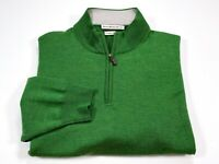 Peter Millar XL Men's 1/2 Zip Long Sleeve Green Merino Wool Sweater