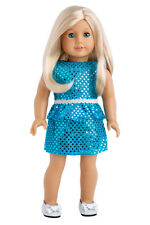 Turquoise - Doll Clothes for 18 inch American Girl, Party Dress Silver Shoes