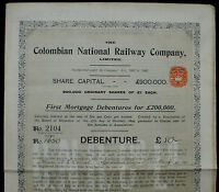 Columbian National Railway 80 P. Sterling 1910 uncancelled + coupons