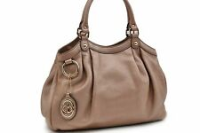 Authentic GUCCI Sukey Hand Bag Leather Pink 93276