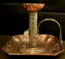 SUPER RARE GOTHIC EARLY 1900,S HUGE COPPER AND BASS CHAMBERSTICK / CANDLESTICK