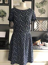 Next 12 Dress Floral Ditsy Blue Skater Fit Flare